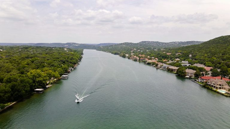 Drone photo of Lake Austin at Mt Bonnel