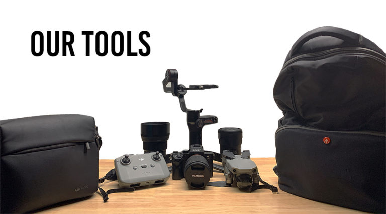 Perspective shot of camera gear and equipment